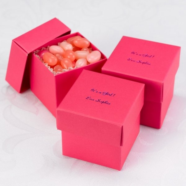 Mix And Match Personalized Fuchsia Favor Boxes Set Of 25