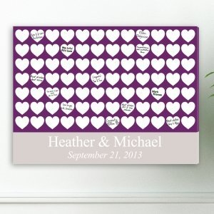 Heartfelt Wishes Wedding Guest Book Canvas image