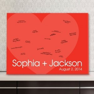 Personalized Red Heart Guest Book Canvas image