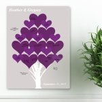 Purple Tree of Love Wedding Signature Canvas