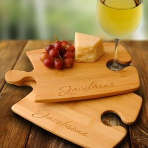Personalized Perfect Fit Bamboo Puzzle Cutting Board Set image