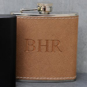 Personalized Tan Hide-Stitch Flask image