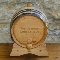 Personalized Mini Oak Wine Barrel with Stand