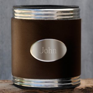 Personalized Brown Leather Koozie image