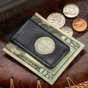 Personalized Leather Magnetic Money Clip image