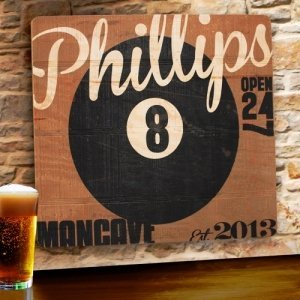 8-Ball Personalized Wood Tavern & Bar Sign image