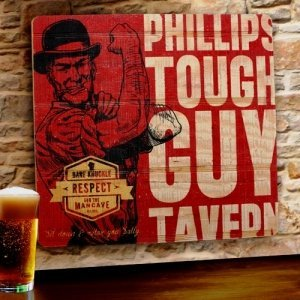 Personalized Tough Guy Tavern Wood Sign image