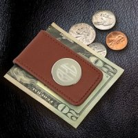 Leather Magnetic Money Clip-Brown