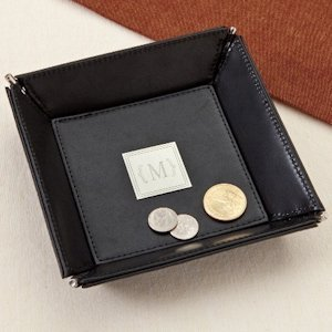 Monogrammed Leather Coin Tray image