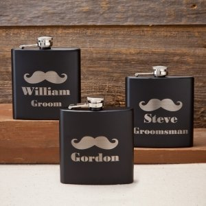 Personalized 6 oz Black Matte Mustache Flask (3 Designs) image
