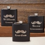Personalized 6 oz Black Matte Mustache Flask (3 Designs)
