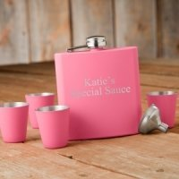 Personalized 6oz Matte Pink Flask & Shot Glass Gift Set