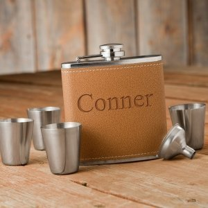 Personalized 6oz Hide Stitch Flask & Shot Glass Gift Set image