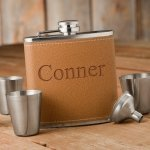 Personalized 6oz Hide Stitch Flask & Shot Glass Gift Set