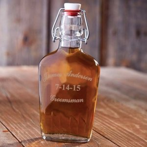 Engraved Groomsman Glass Flask image