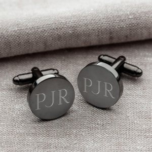 Personalized Gunmetal Round Cufflinks image