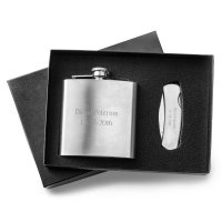 Stainless Steel Personalized Flask & Lock Back Knife Gift Se