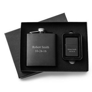 Personalized Black Matte Flask and Lighter Gift Set image