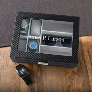 Men's Personalized Watch Box with Sunglasses Holder image