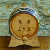 Monogrammed Oak Whiskey Barrel