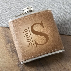 Monogrammed Tan Hide Stitched Flask image
