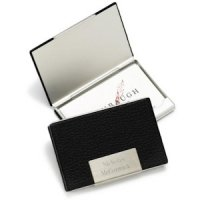 Personalized Leather & Stainless Business Card Case