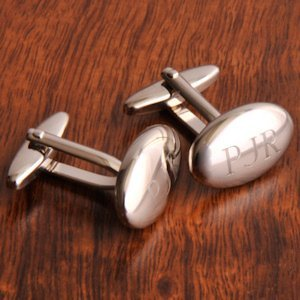 Monogrammed High Polish Oval Cuff Links image