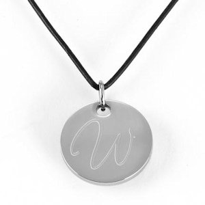Monogrammed Leather Round Pendant Necklace image
