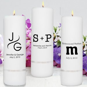 Monogram Unity Candles for Weddings (Pillar or Set) image