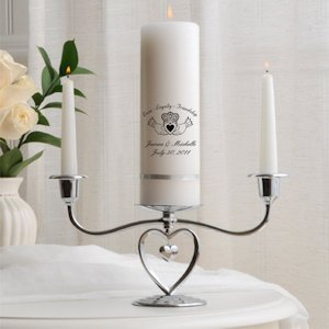 Premier Personalized Unity Candle with Heart Stand image