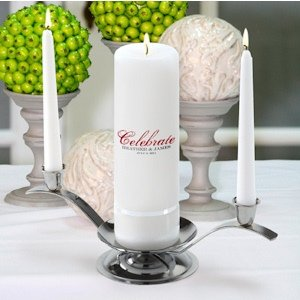 Personalized Round Celebrate Wedding Unity Candle Sets image