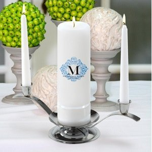 Fresh Floral Personalized Unity Candle Sets with Stands image
