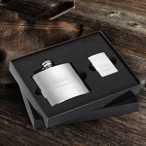 Personalized Flask & Zippo Lighter Gift Set image