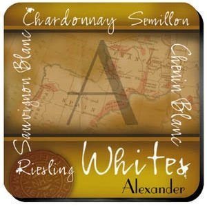 Personalized White Wine Coaster Set image