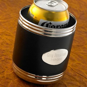 Personalized Black Leather Can Koozie image
