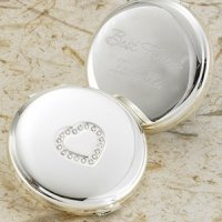 Personalized Silver Plated Sweetheart Compact
