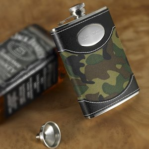 Personalized Green Camo Flask image