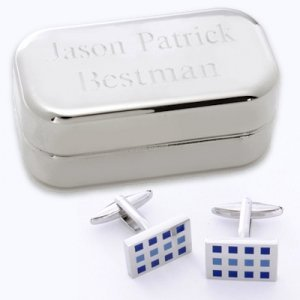 Dashing 12 Square Cufflinks with Engraved Case image