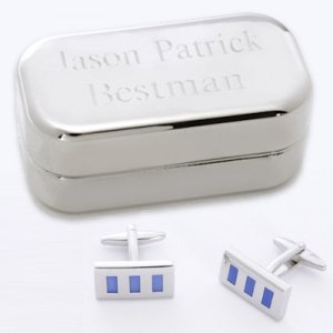 Blue Rectangle Cufflinks with Personalized Case image