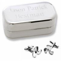 Dashing Propeller Cufflinks with Engraved Case