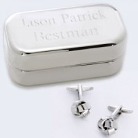Silver Knot Cufflinks with Personalized Silver Case