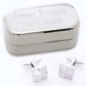 Silver Square Cufflinks with Engraved Silver Case image