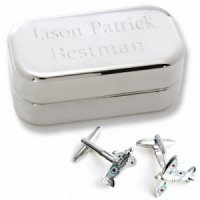 Spitfire Airplane Cufflinks with Personalized Case