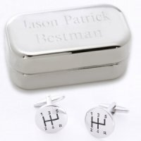Dashing Stick Shift Cufflinks with Personalized Case