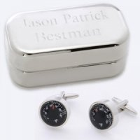 Dashing Thermometer Cufflinks with Engraved Case