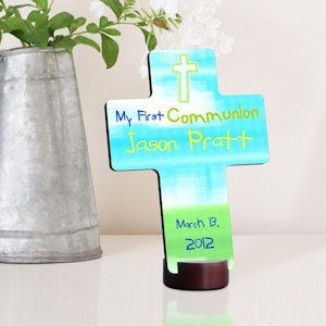 Bright Blessings Personalized First Communion Cross image