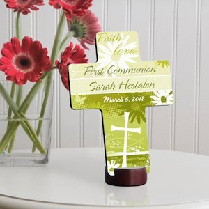 Delicate Daisy Personalized First Communion Cross image