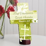 Delicate Daisy Personalized First Communion Cross