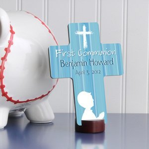 Personalized Prayer First Communion Cross in Blue image