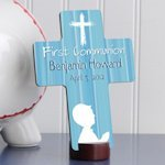 Personalized Prayer First Communion Cross in Blue